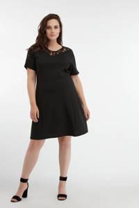 MS Mode semi-transparante A-lijn jurk met kant zwart, Zwart