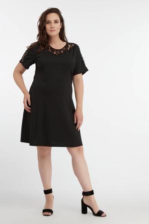 semi-transparante A-lijn jurk met kant zwart