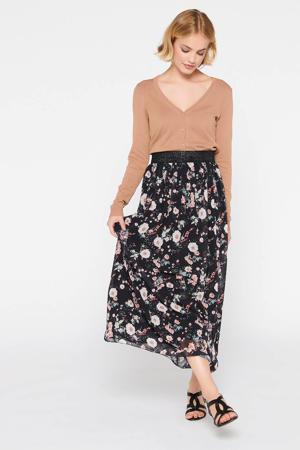 gebloemde rok zwart/lichtroze