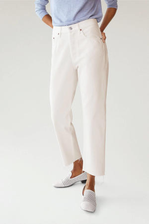 cropped high waist straight fit jeans wit