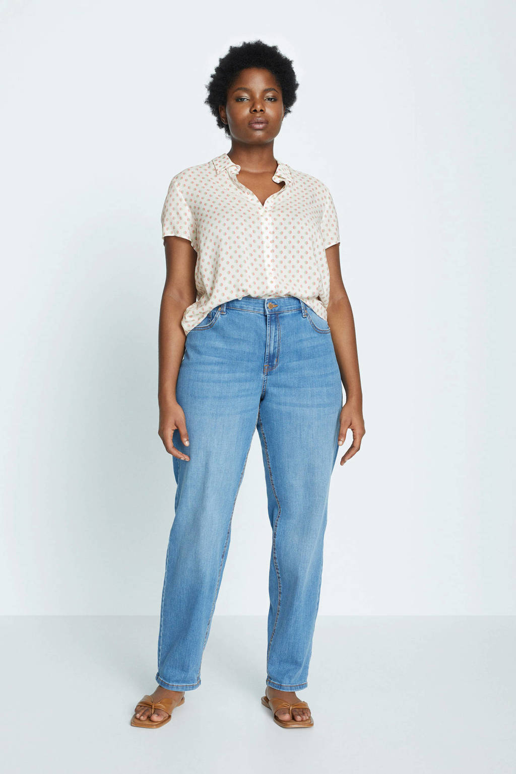 Violeta by Mango blouse met all over print gebroken wit/roze/groen