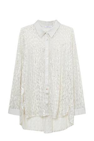 blouse met pailletten zilver