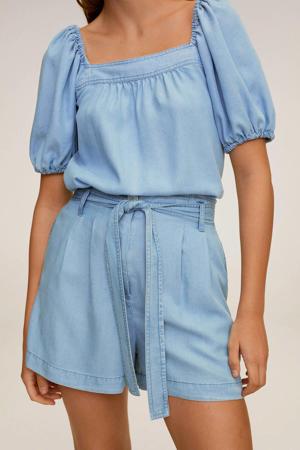 high waist loose fit short changeant blauw
