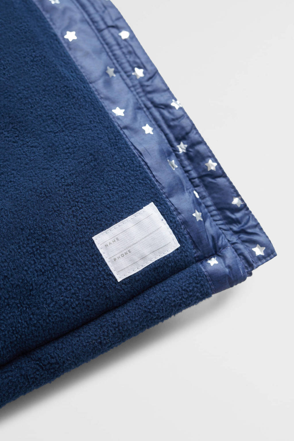 Mango Kids gewatteerde winterjas met all over print en ruches marine/blauw, Marine/blauw