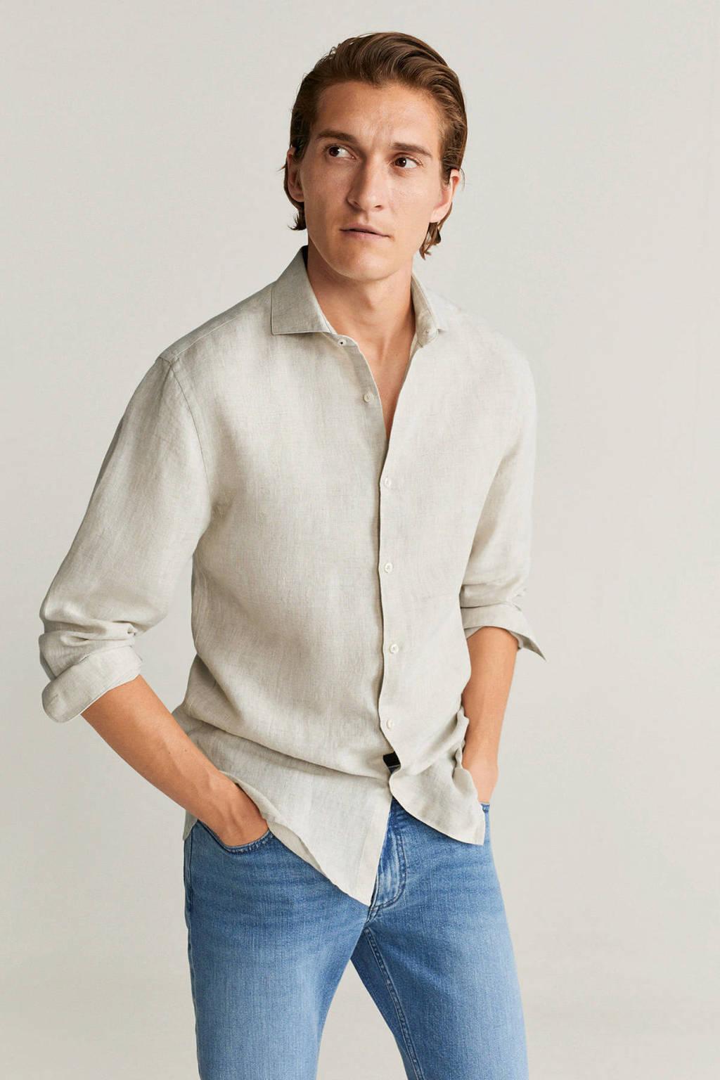 Mango Man gemêleerd linnen slim fit overhemd beige, Beige