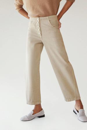cropped high waist straight fit jeans lichtbeige