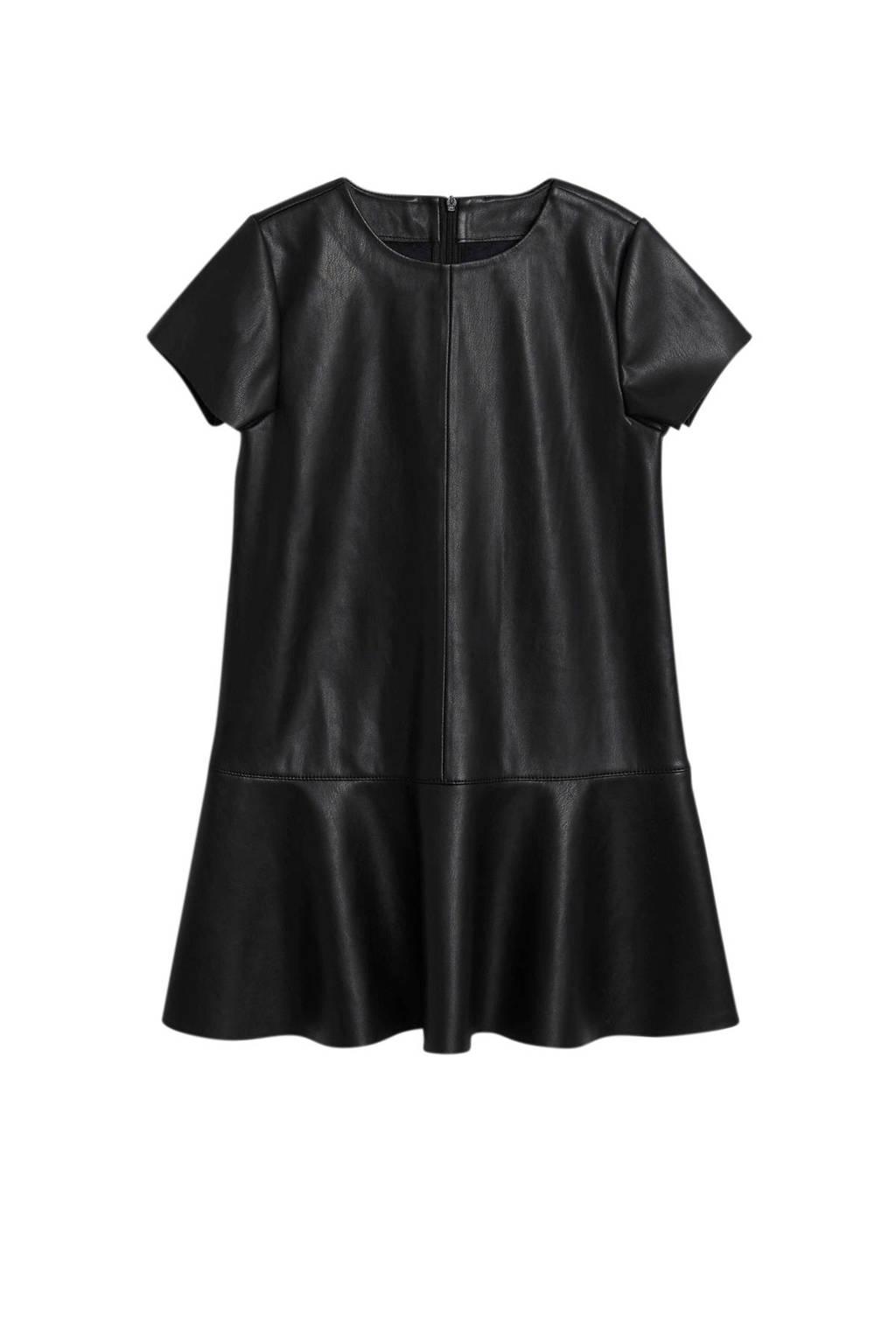 Mango Kids imitatieleren jurk zwart, Zwart