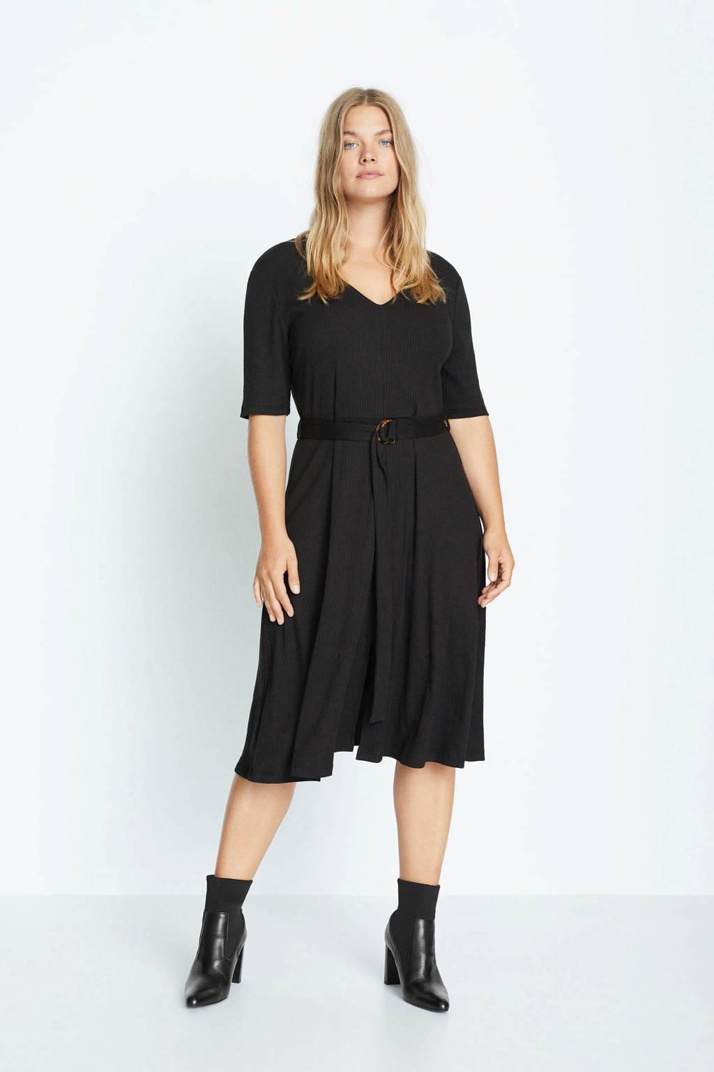 Violeta by Mango jurk met ceintuur zwart, Zwart