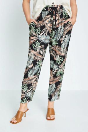 gebloemde cropped high waist straight fit pantalon zwart/groen/roze