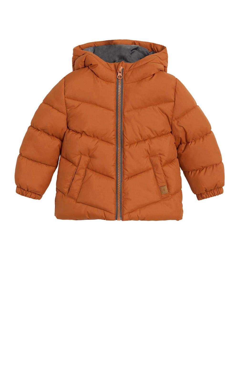 Mango Kids gewatteerde winterjas donker oranje, Donker oranje
