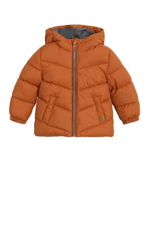 gewatteerde winterjas donker oranje