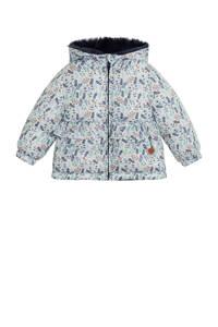 Mango Kids gewatteerde winterjas met all over print en ruches wit/donkerblauw, Wit/donkerblauw