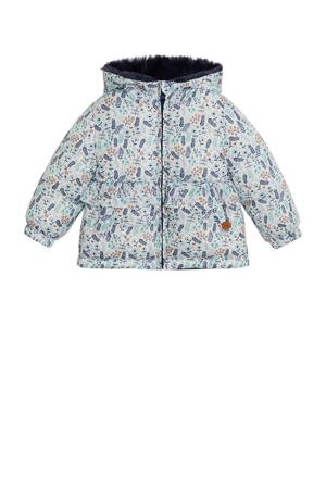 gewatteerde winterjas met all over print en ruches wit/donkerblauw