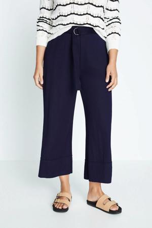 cropped high waist straight fit pantalon marine
