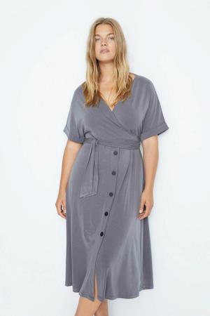 jurk met ceintuur grijs