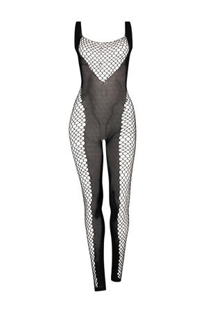 fishnet bodysuit zwart