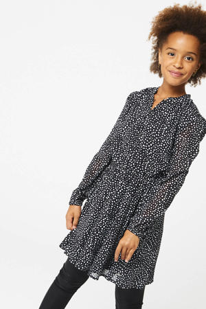 blousejurk Dilara met stippen zwart/wit