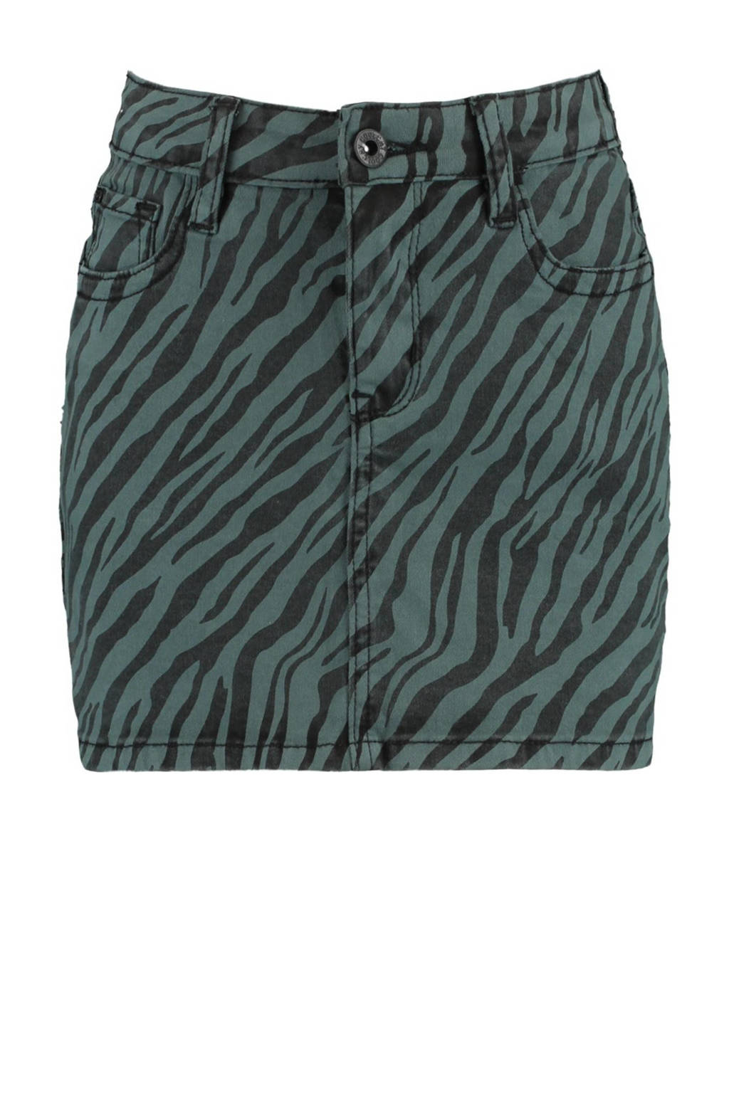 CoolCat Junior spijkerrok Rory met zebraprint, Zwart/groen