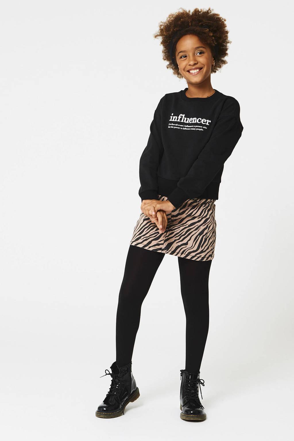 CoolCat Junior spijkerrok Rory met zebraprint, Oudroze/zwart