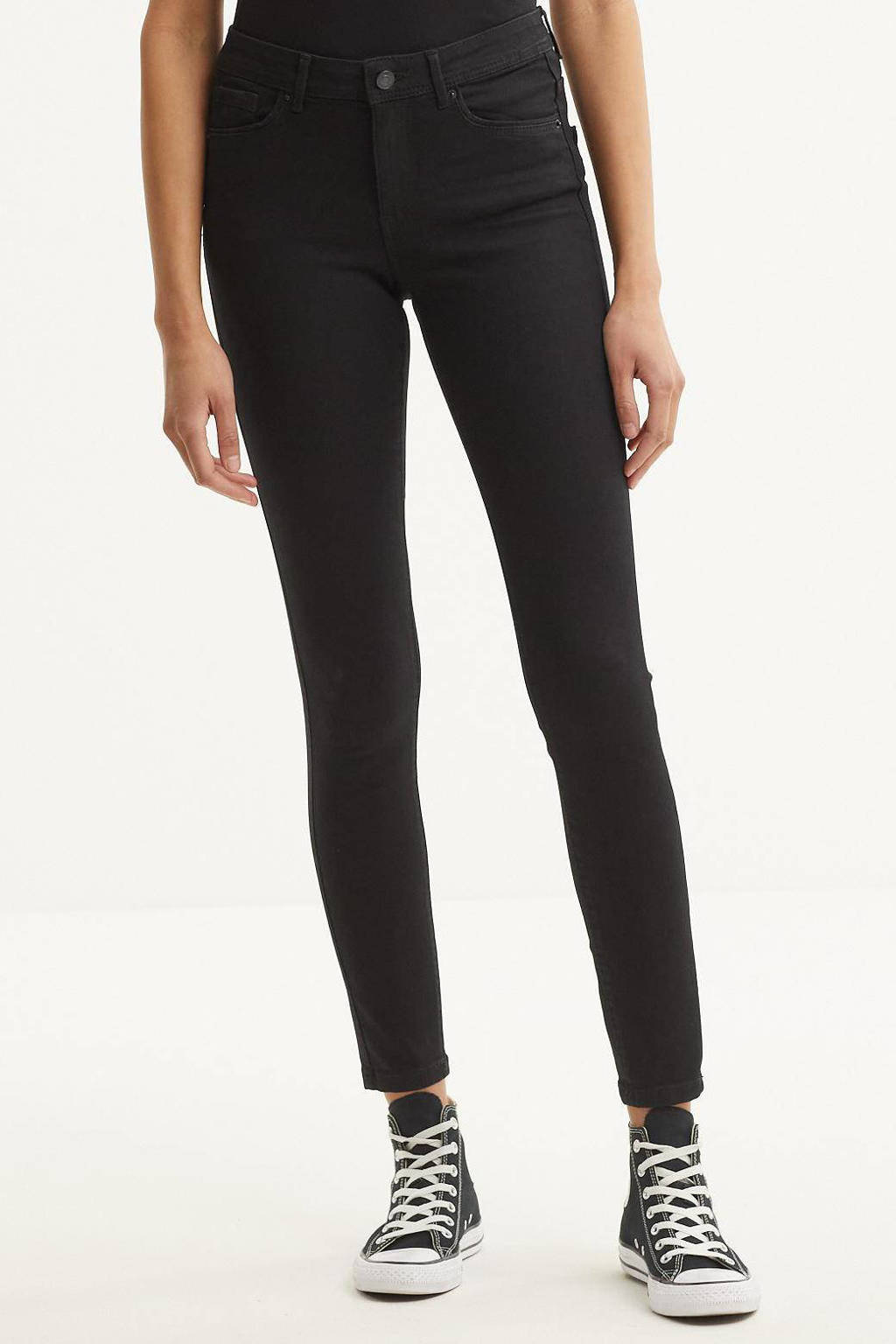 VERO MODA mid waist skinny jeans VMTANYA black, Zwart