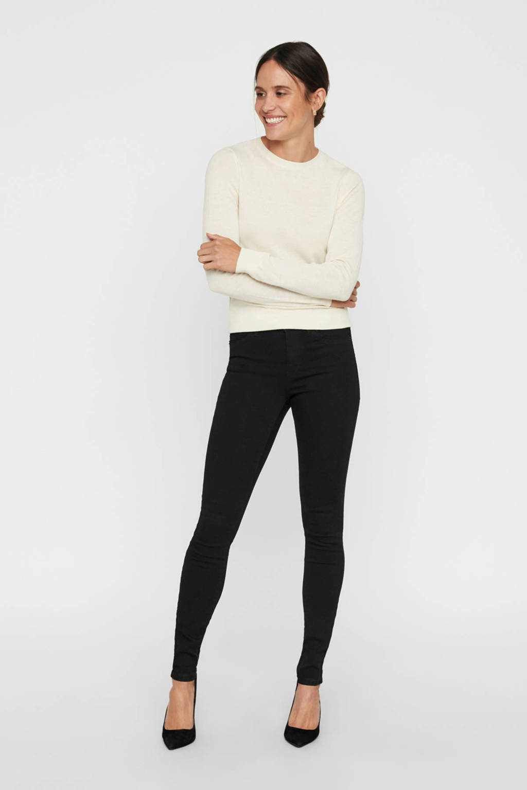 VERO MODA skinny jeans Tanya zwart, Zwart