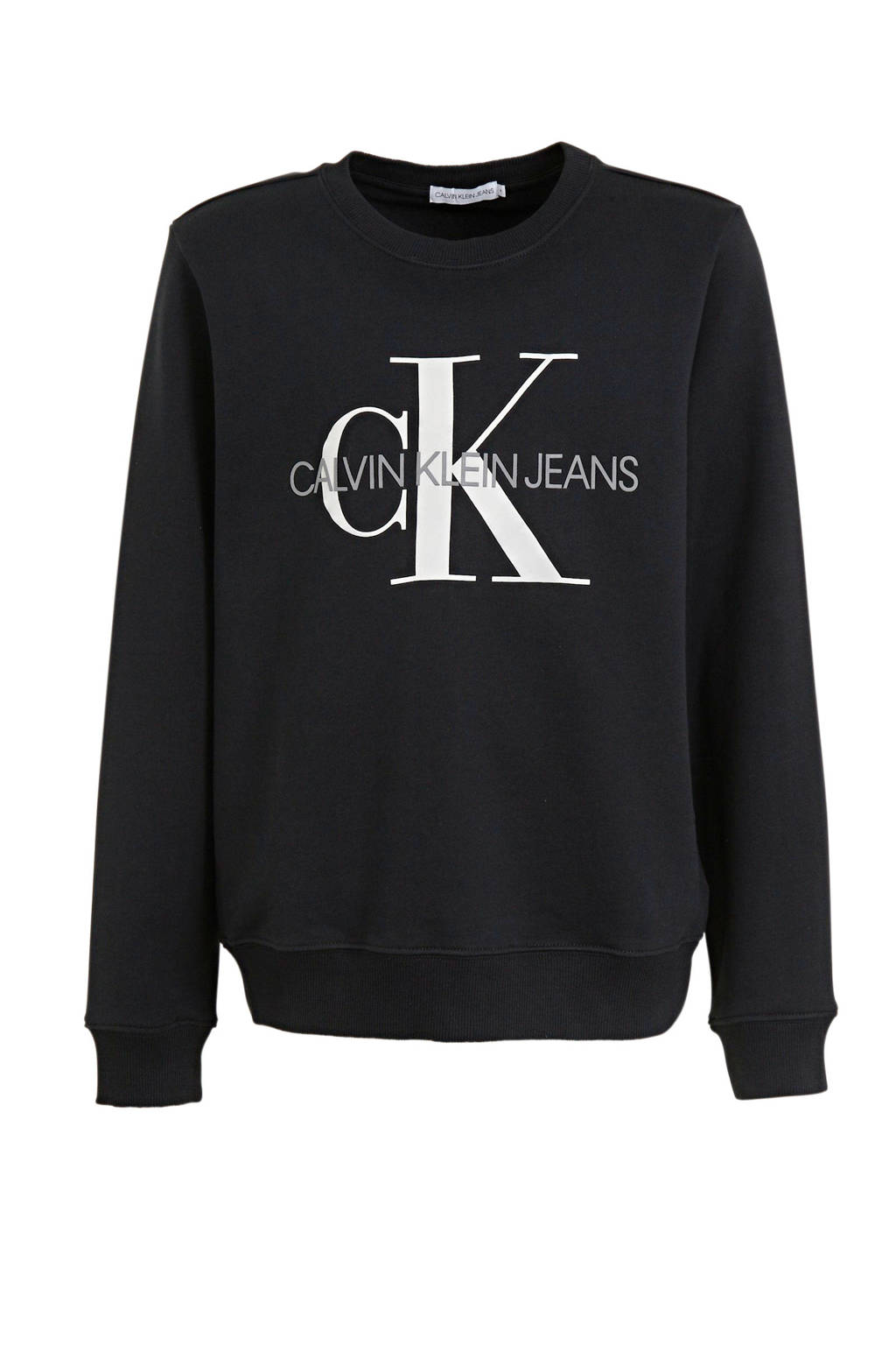 CALVIN KLEIN JEANS sweater van biologisch katoen zwart, Zwart