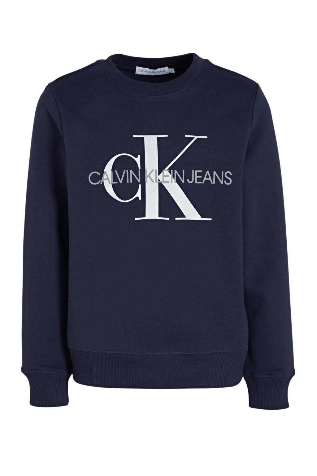 CALVIN KLEIN JEANS sweater van biologisch katoen donkerblauw, Donkerblauw