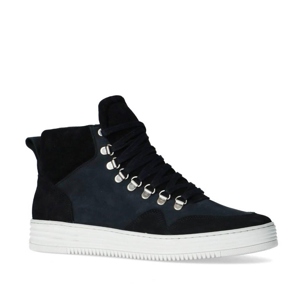 Sacha   hoge suède sneakers zwart/blauw, Zwart
