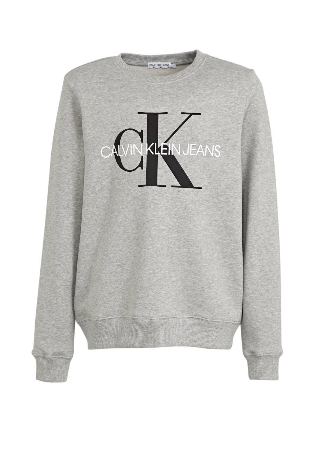 CALVIN KLEIN JEANS sweater van biologisch katoen grijs, Grijs