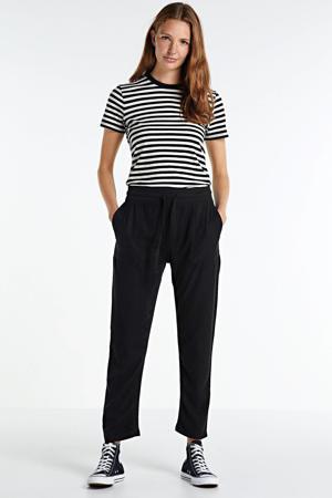 high waist regular fit broek zwart