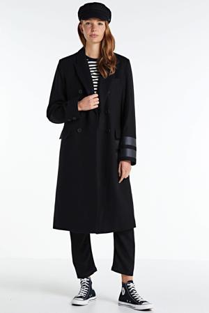 coat met wol en logo zwart