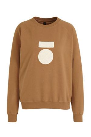 sweater met logo bruin