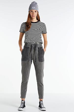 high waist regular fit broek grijs