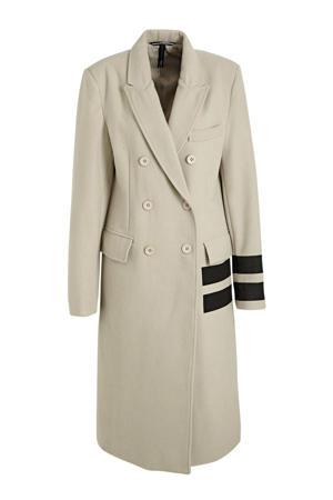 coat met wol en logo beige/zwart
