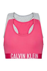 CALVIN KLEIN bh top - set van 2 roze/grijs melange, Grijs melange/roze