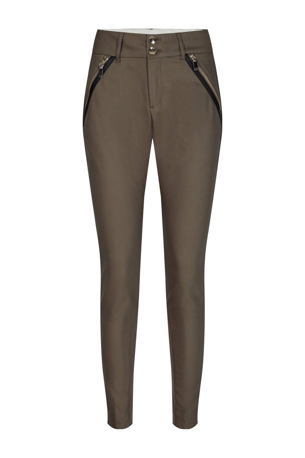 Mos Mosh slim fit broek Milton Night Pant met biologisch katoen bruin, Bruin