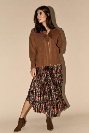 plissé rok met all over print groen/bruin