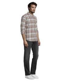 Tom Tailor geruit slim fit overhemd bruin/wit, Bruin/wit