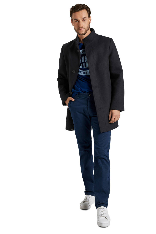 Tom Tailor longsleeve met logo kobaltblauw, Kobaltblauw