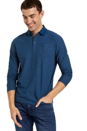 regular fit polo met textuur blauw