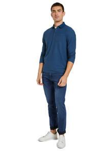 Tom Tailor regular fit polo met textuur blauw, Blauw