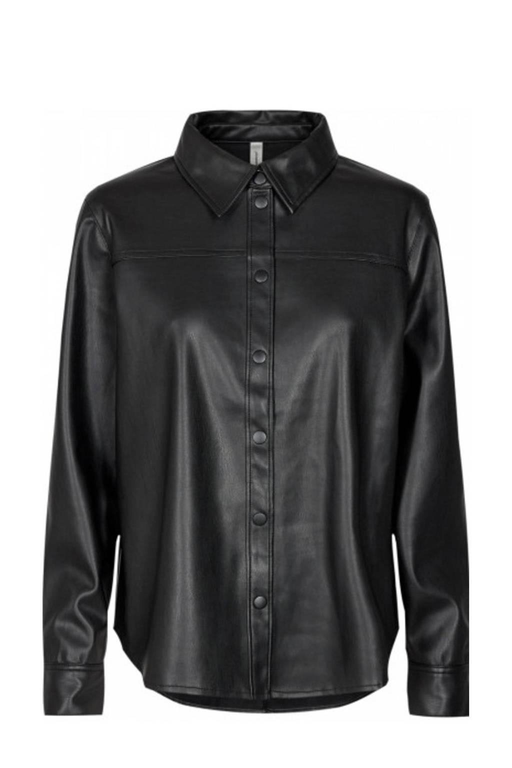 Soyaconcept imitatieleren blouse SC-BECKIE 7 zwart, Zwart
