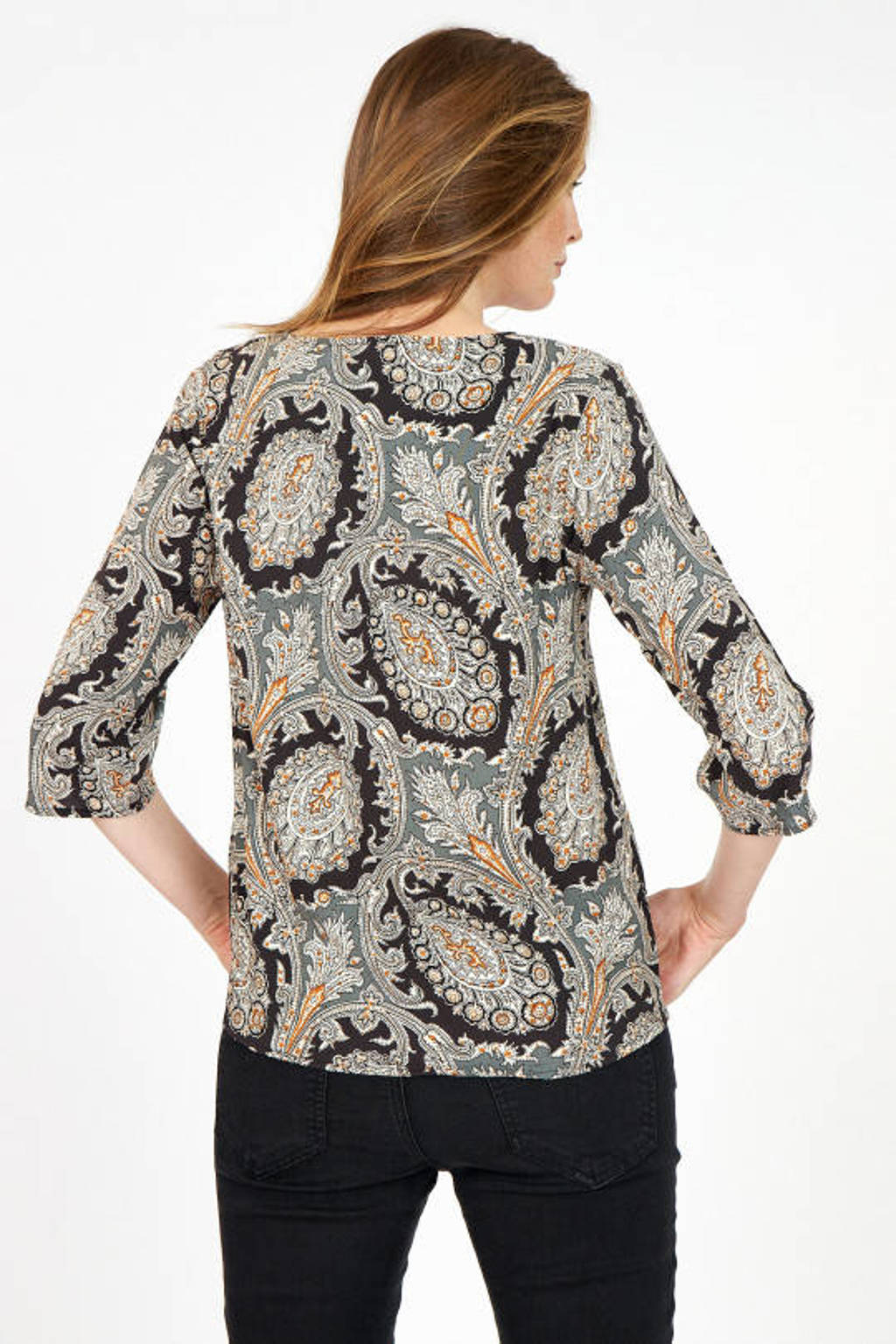 Soyaconcept blouse SC-LUCINDA 1 met all over print zand/zwart/oranje, Zand/Zwart/Oranje
