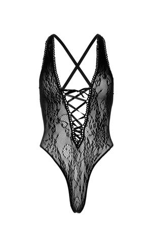 fishnet stringbody met veterdetail zwart