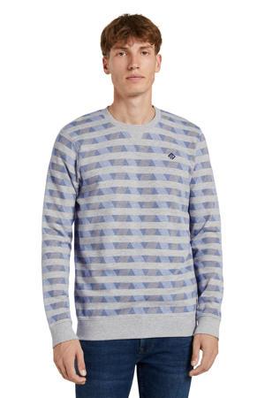 sweater met all over print grijs
