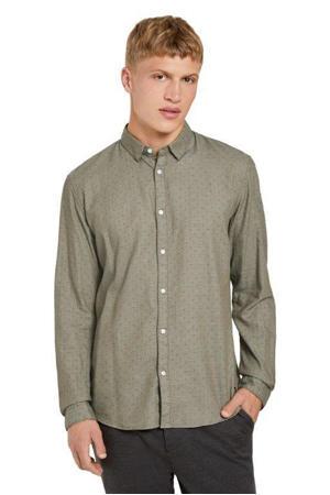 slim fit overhemd met all over print grijsgroen