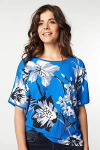 Miss Etam Regulier gebloemd T-shirt blauw/wit, Blauw/wit