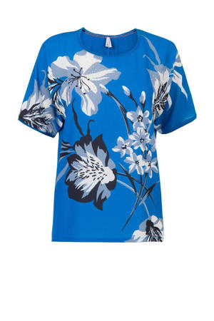 gebloemd T-shirt blauw/wit