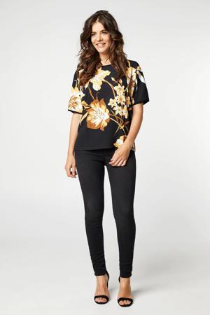 gebloemd T-shirt zwart/geel/wit