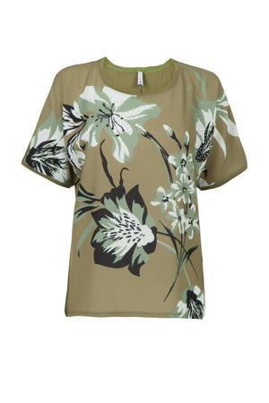 gebloemd T-shirt groen/wit